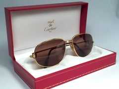 New Vintage Cartier Romance Vendome 56MM France 18k Gold Plated Sunglasses