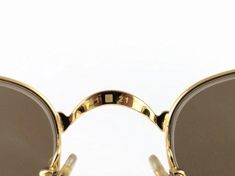 Gray New Vintage Cartier Sasdir 51MM Gold Plated Brown Lens France 1990 Sunglasses For Sale