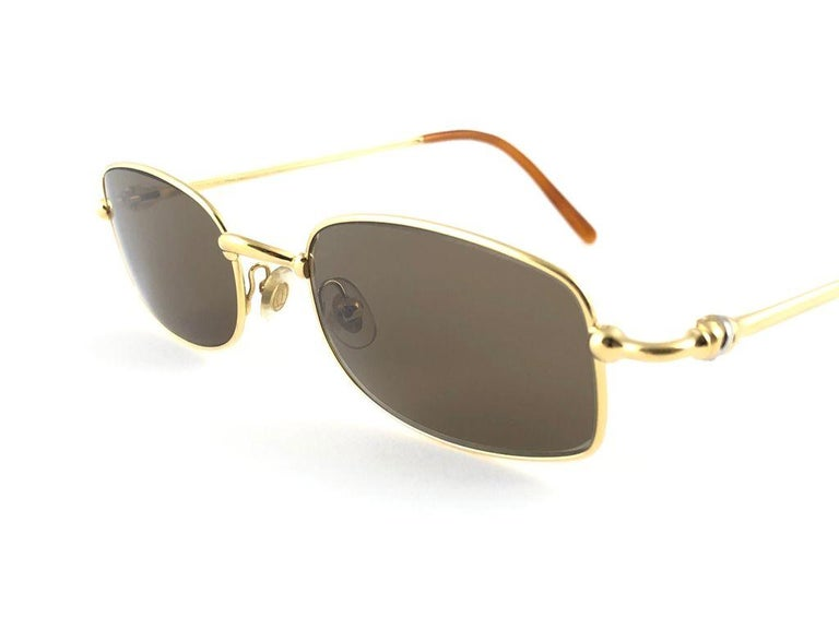 New Vintage Cartier Sasdir 51MM Gold Plated Brown Lens France 1990 Sunglasses For Sale 1