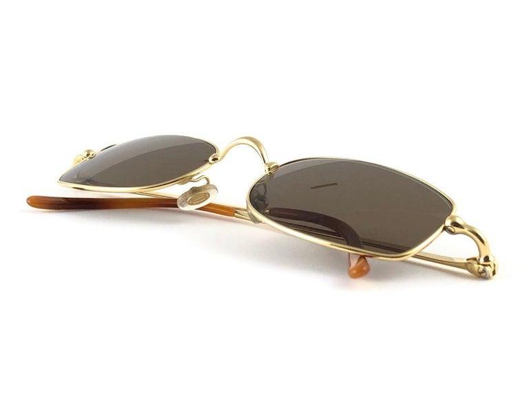 New Vintage Cartier Sasdir 51MM Gold Plated Brown Lens France 1990 Sunglasses For Sale 3