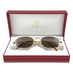 New Vintage Cartier Sasdir 51MM Gold Plated Brown Lens France 1990 Sunglasses