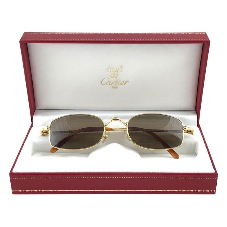 New Vintage Cartier Sasdir 51MM Gold Plated Brown Lens France 1990 Sunglasses For Sale