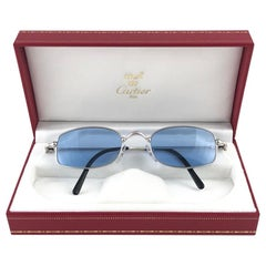 New Vintage Cartier Sasdir 51MM Platine Plated Blue Lens France 1990 Sunglasses