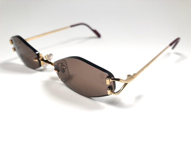 21be626d1d31 Women s or Men s New Vintage Cartier Soho Gold Rimless Brown Lens France  Sunglasses For Sale