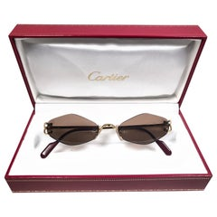 New Vintage Cartier Soho Gold Rimless Brown Lens France Sunglasses