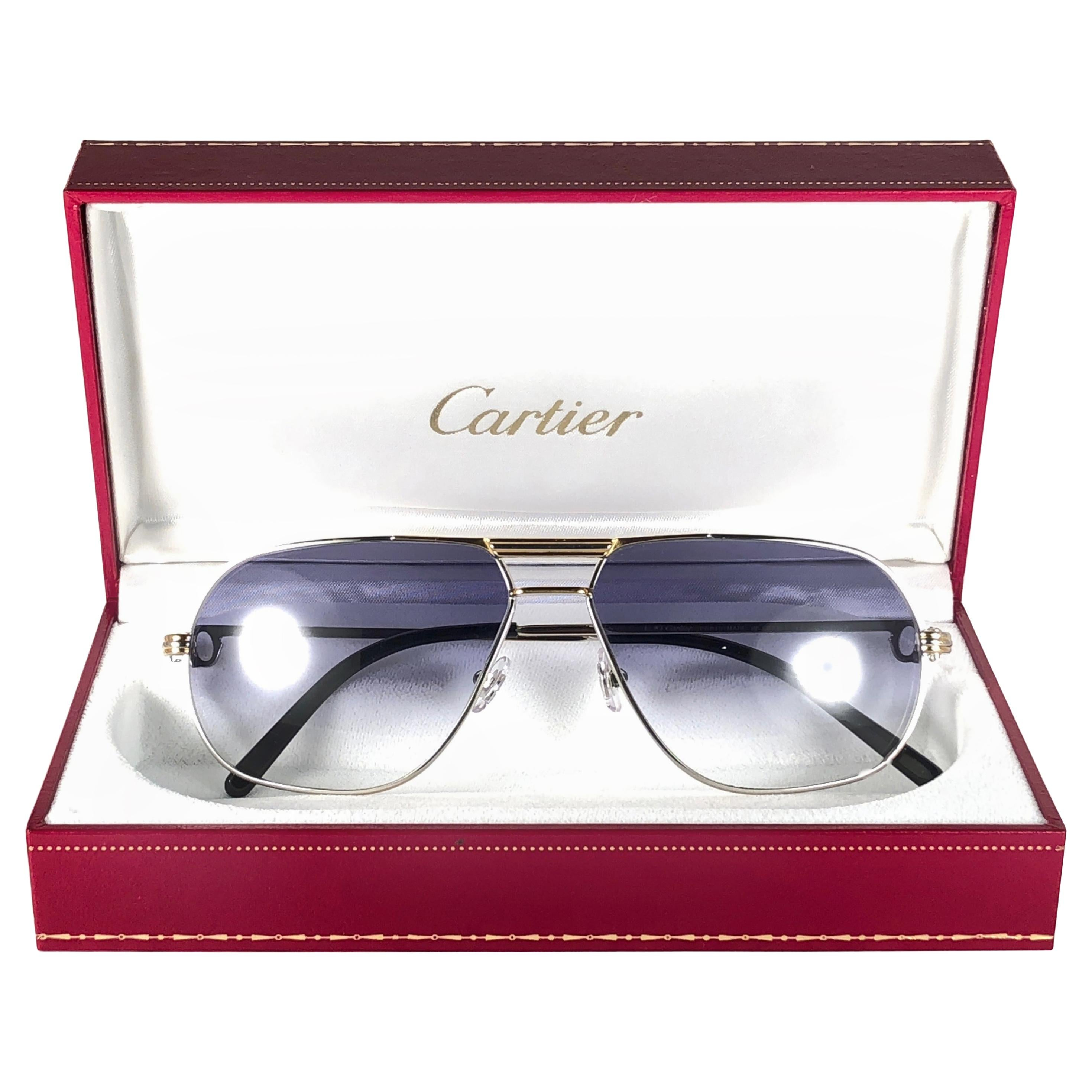 New Vintage Cartier Tank Platine 59mm Medium France 18k Gold Plated Sunglasses