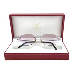 New Vintage Cartier Titanium Rimless Gradient Lens Case France Sunglasses