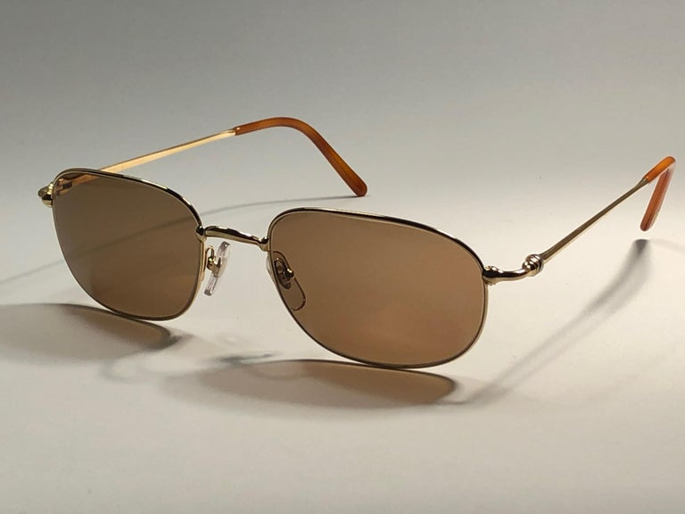 Women's or Men's New Vintage Cartier Vesta 56mm Gold Plated Frame France 1990 Sunglasses For Sale
