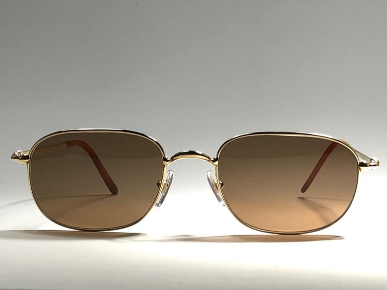 New Vintage Cartier Vesta 56mm Gold Plated Frame France 1990 Sunglasses For Sale 1