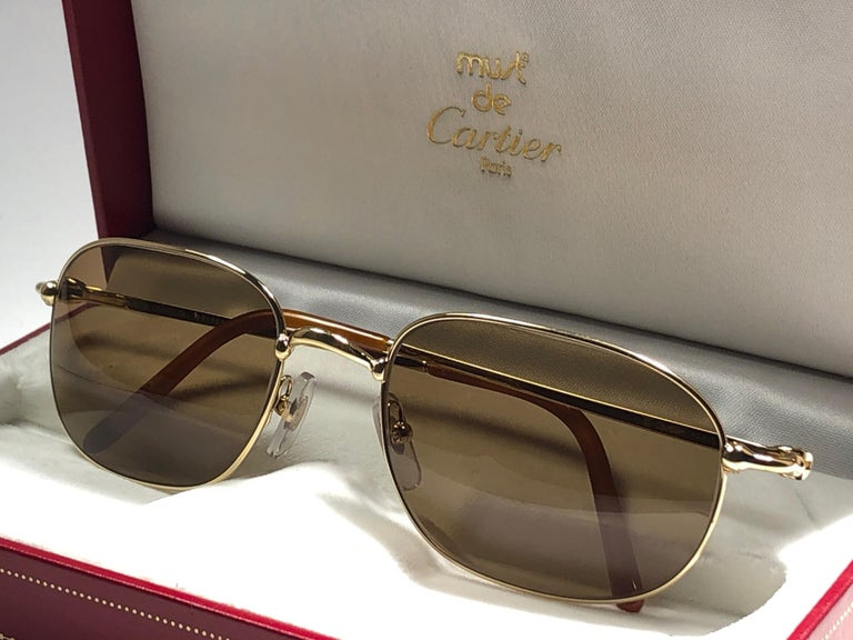 New Vintage Cartier Vesta 56mm Gold Plated Frame France 1990 Sunglasses For Sale 5