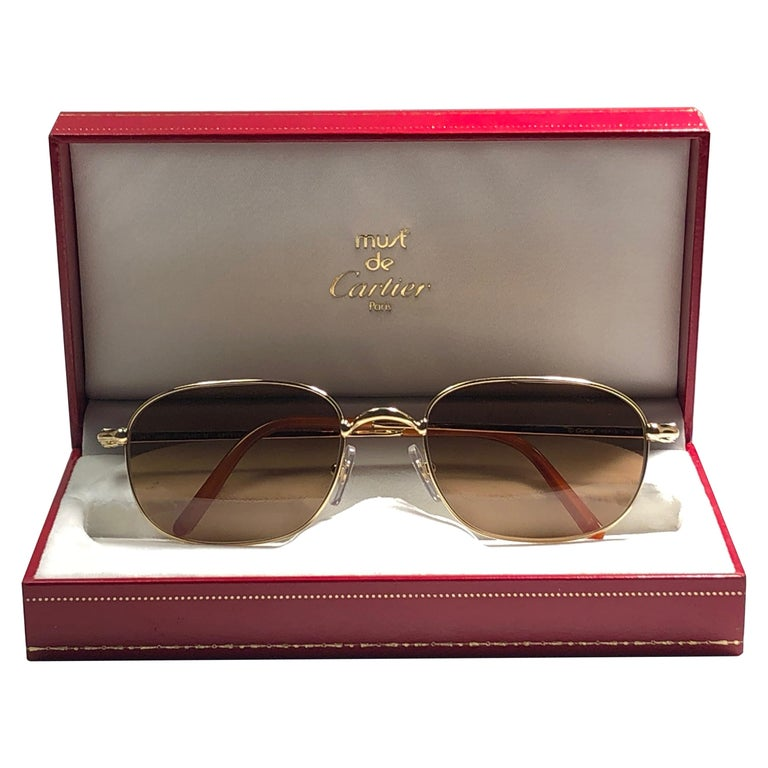 New Vintage Cartier Vesta 56mm Gold Plated Frame France 1990 Sunglasses For Sale