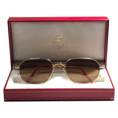 New Vintage Cartier Vesta 56mm Gold Plated Frame France 1990 Sunglasses