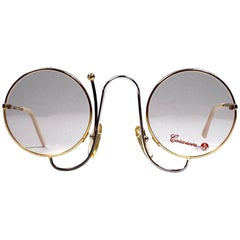 New Vintage Casanova Gold Joan Miro Inspired Frame Demo Lens 1980 Sunglasses