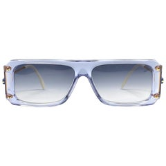 New Vintage Cazal 185 Translucent Blue Frame 1980's Sunglasses