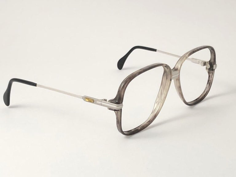White New Vintage Cazal 620 Marbled & Silver Frame Reading 1980's Sunglasses For Sale