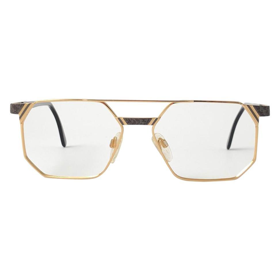 New Vintage Cazal 743 Gold & Black Frame RX Collector Item 1990's Sunglasses