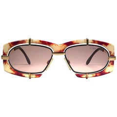 New Vintage Cazal 872 728  Tortoise Gold Frame 1980's Sunglasses