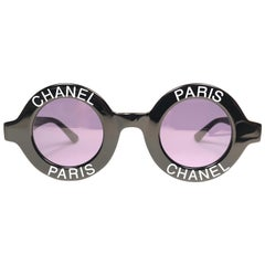 """New Vintage Chanel Iconic Round """" Chanel Paris """" Black Sunglasses Made In Italy"""