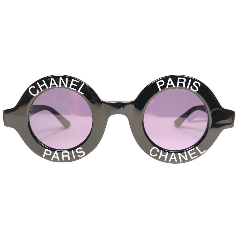 "New Vintage Chanel Iconic Round "" Chanel Paris "" Black Sunglasses Made In Italy For Sale"