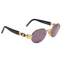 New Vintage Charme Pharaoh Gold Oval Mod 7540 1990's Sunglasses Made in Italy