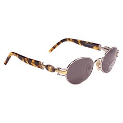 New Vintage Charme Pharaoh Silver Oval Mod 7540 1990's Sunglasses Made in Italy