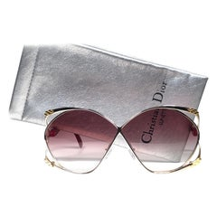 New Vintage Christian Dior 2056 45 Butterfly Gold & Red Sunglasses