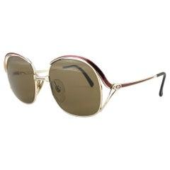 New Vintage Christian Dior 2145 43 Gold & Burgundy Sunglasses 1980's Austria