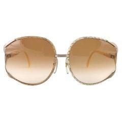 New Vintage Christian Dior 2250 Oversized Python Lined Sunglasses