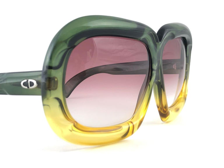 Orange New Vintage Christian Dior D10 Huge Two Tone Amber & Green Optyl Sunglasses For Sale