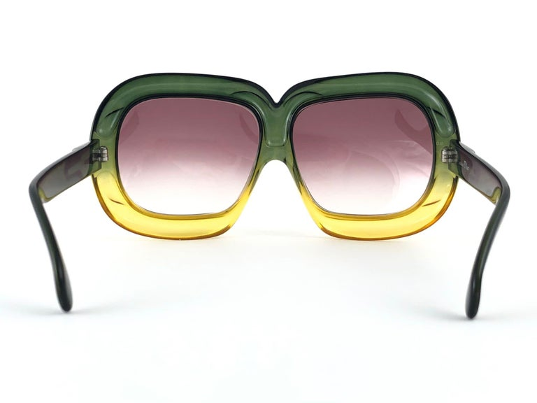 Women's New Vintage Christian Dior D10 Huge Two Tone Amber & Green Optyl Sunglasses For Sale
