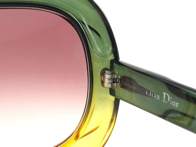 New Vintage Christian Dior D10 Huge Two Tone Amber & Green Optyl Sunglasses For Sale 2