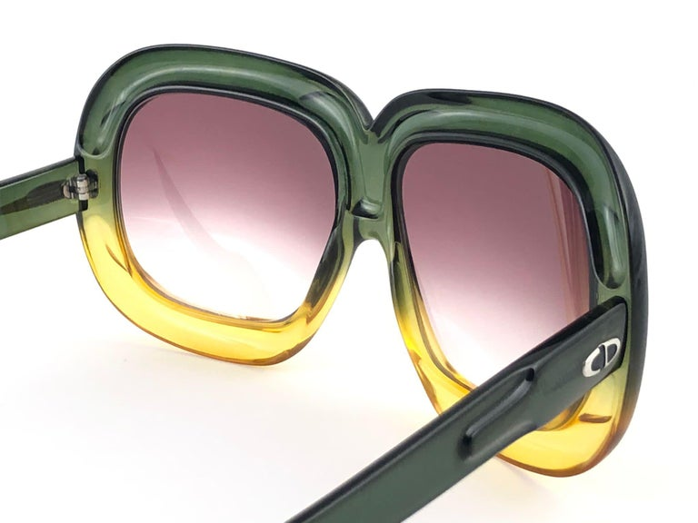 New Vintage Christian Dior D10 Huge Two Tone Amber & Green Optyl Sunglasses For Sale 3