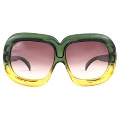 New Vintage Christian Dior D10 Huge Two Tone Amber & Green Optyl Sunglasses