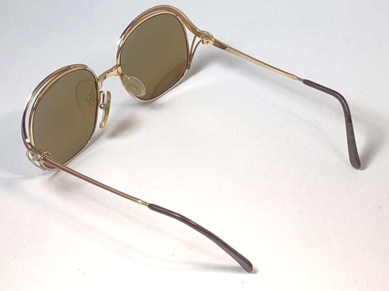 Women's New Vintage Christian Dior Enamel Gold & Burgundy Sunglasses Austria For Sale