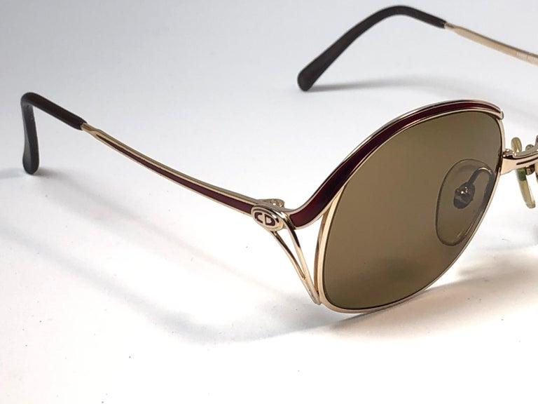 New Vintage Christian Dior Enamel Gold & Burgundy Sunglasses Austria For Sale 3