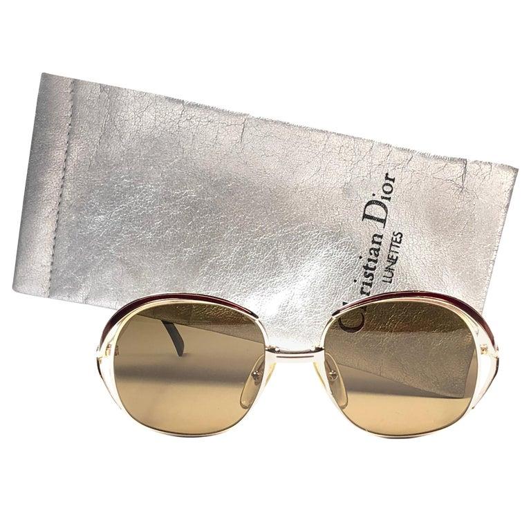 New Vintage Christian Dior Enamel Gold & Burgundy Sunglasses Austria For Sale