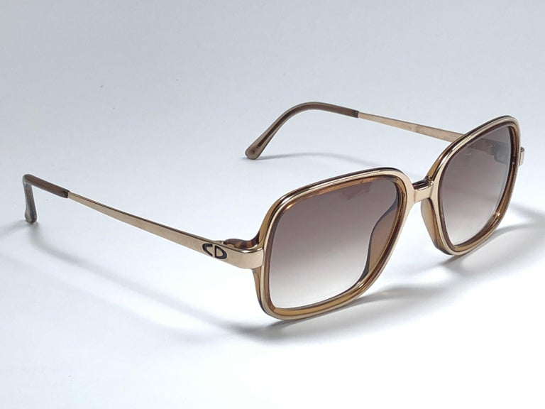 Black New Vintage Christian Dior Monsieur 2057 Gold Amber Sunglasses 1970's Austria For Sale