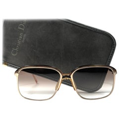 New Vintage Christian Dior Monsieur 2089 Gold Amber Sunglasses 1970's Austria