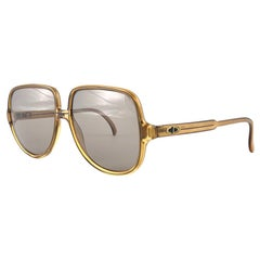 New Vintage Christian Dior Monsieur 2091  Oversized Gold Amber Sunglasses 1970