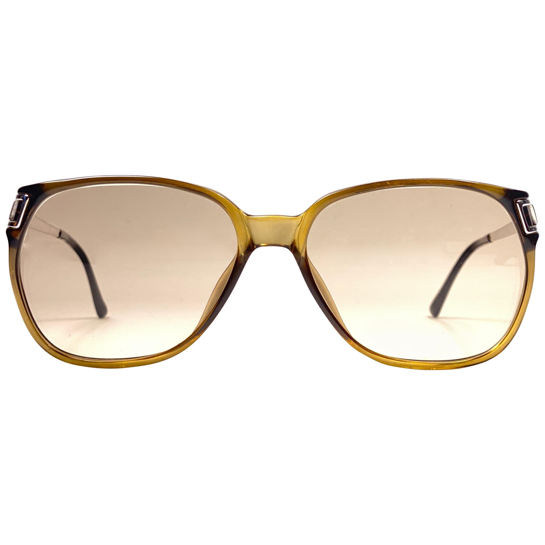 New Vintage Christian Dior Monsieur 2131 Oversized Gold Amber Sunglasses 1970