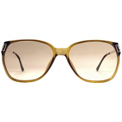 New Vintage Christian Dior Monsieur 2131 Oversized Gold Amber Sunglasses 1970