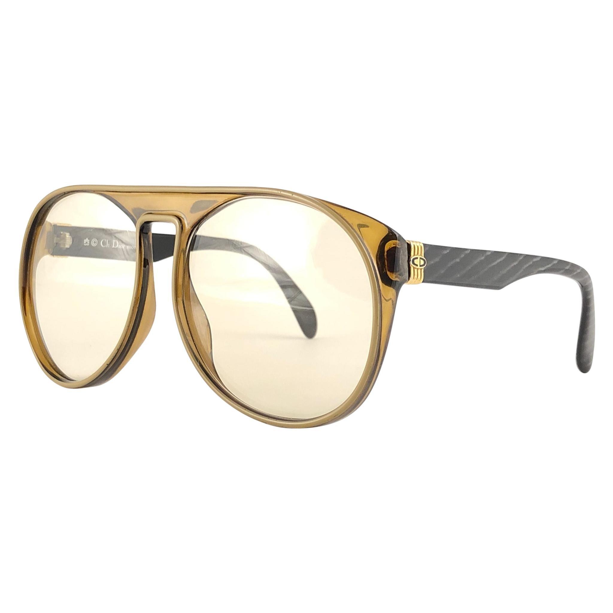 New Vintage Christian Dior Monsieur 2317 Oversized Gold Amber Sunglasses 1970