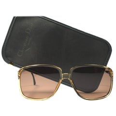 New Vintage Christian Dior Monsieur Oversized Gold Amber Sunglasses 1970 Austria