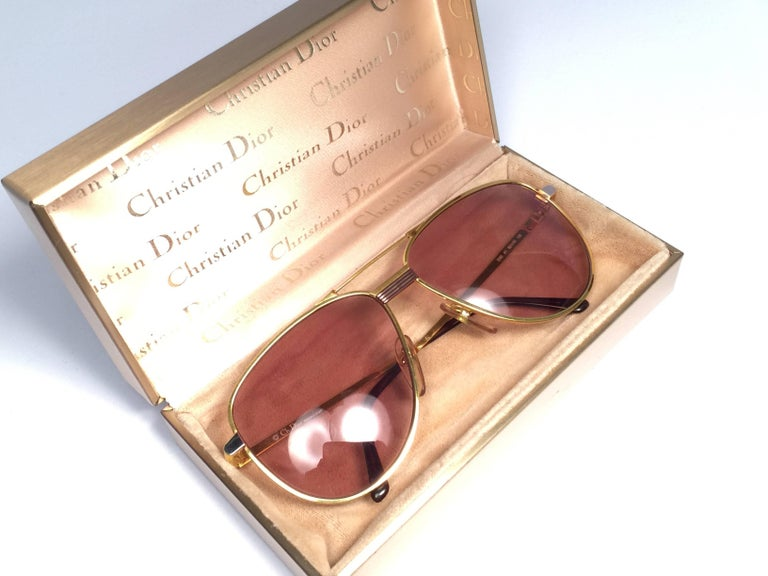 Gray Christian Dior Monsieur Titanium Gold Optyl Germany Sunglasses For Sale