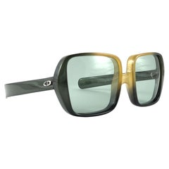 New Vintage Christian Dior Uber Oversized Two Tone Green Optyl Sunglasses