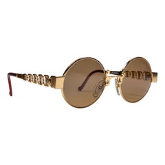 New Vintage Christian Lacroix 7340 40 Oval Gold Brown 1980 France Sunglasses