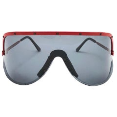 New Vintage Colors in Optics Red Shield Mask Miles Davis  Sunglasses, 1980s