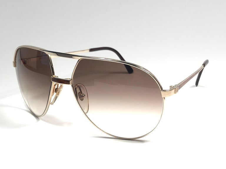 Gray New Vintage Dunhill 6042 Laque Details Frame Aviator Sunglasses France  For Sale