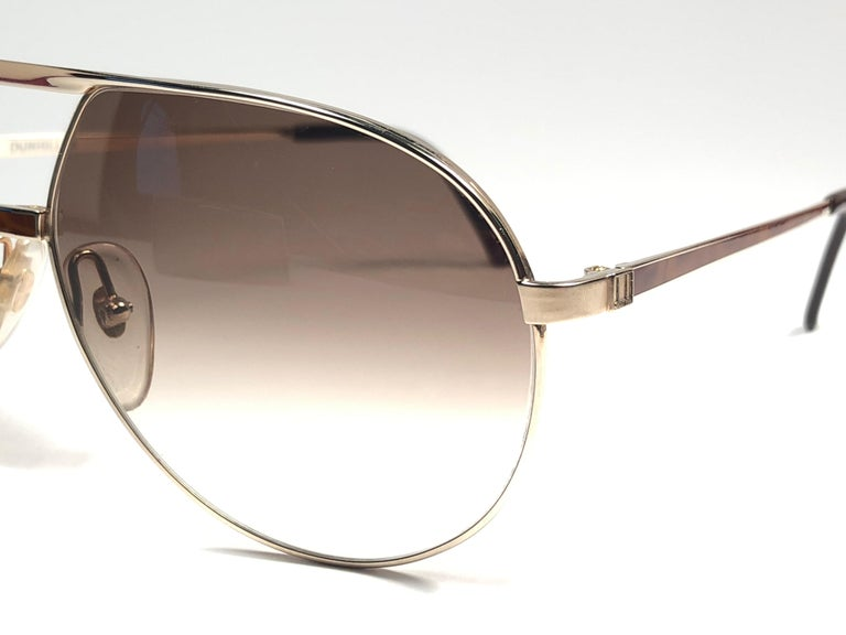 New Vintage Dunhill 6042 Laque Details Frame Aviator Sunglasses France  In New Condition For Sale In Amsterdam, Noord Holland