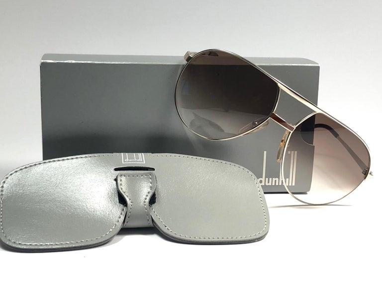 New Vintage Dunhill 6042 Laque Details Frame Aviator Sunglasses France  For Sale 1